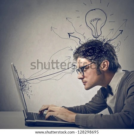 young man working on laptop - stock photo