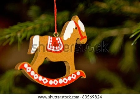 Christmas toy. Rocking horse - stock photo