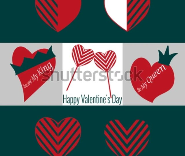 Set Of Valentines Day Icons Two Heart Shaped Lollipops Heart With Crown For Decoration Text You Are My King Be My Queen Elements For Feast Of February