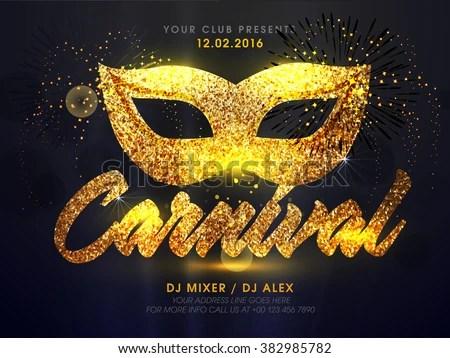 Golden Carnival Mask Masquerade Mardi Gras Carnival