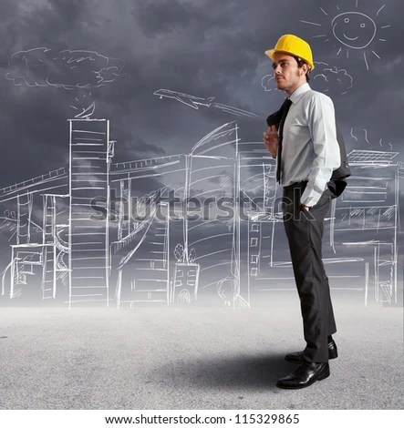 Concept of futuristic architect sketch - stock photo