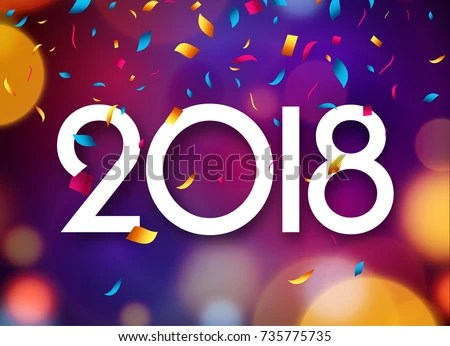 Happy New Year 2018 Greeting Card Template   Download Free Vector     Happy New Year 2018 background decoration  Greeting card design template  2018 confetti  Vector illustration