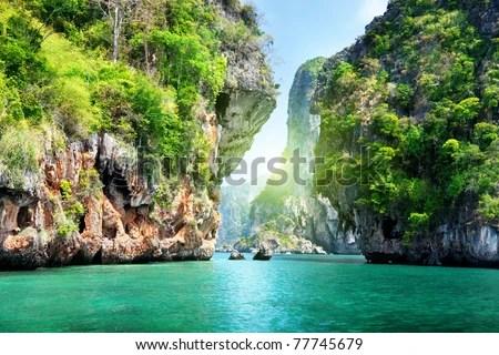 rocks and sea in Krabi Thailand - stock photo