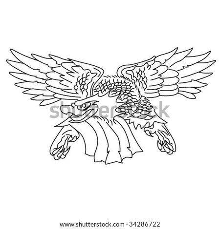 stock vector : Vintage Eagle Tattoo Outline