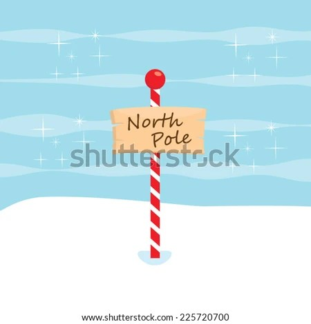 North Pole Sign vector, cute North Pole Clip art