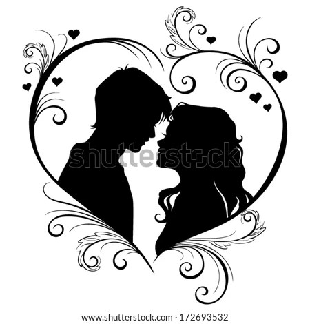 Download Vector Silhouette Of A Loving Couple In The Hear Frame ...
