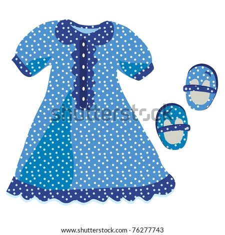 stock vector : Baby girl dress with blue polka dot pattern