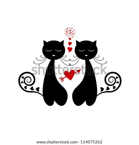 Download Love Cat Silhouette Isolated On White Background Stock ...
