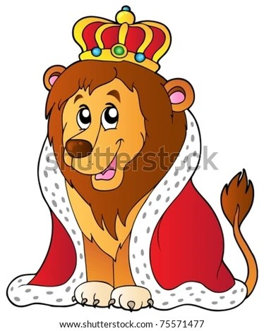 stock vector : Cartoon lion in king outfit - vector illustration.