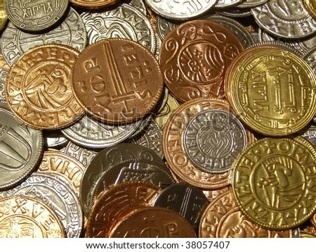 stock photo : viking coins (modern replica based on archaeological findings in Sweden)