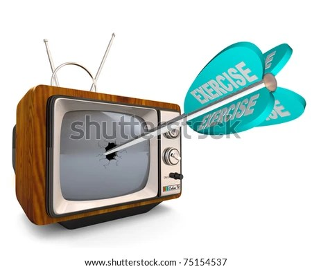 stock photo : An old fashioned televisions with a broken screen hit by an arrow marked Exercise, symbolizing the need to reduce television watching and other sedentary activities and increase physical activity