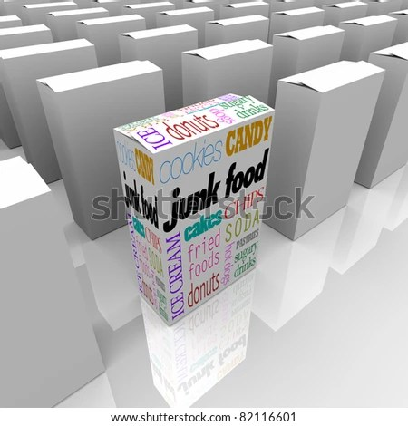 stock photo : Many boxes on a store shelf, one with various words representing junk food that promise nothing but empty calories and no nutritional value
