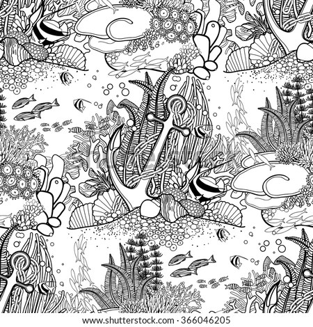 anchor and coral reef drawn in line art style ocean seamless