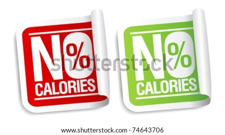 stock vector : No calories, diet food stickers set.