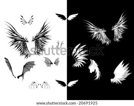 stock vector : Set of wings - dark wings, angel wings, demon wings,