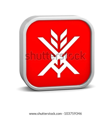 stock photo : Gluten free sign on a white background. Part of a series.