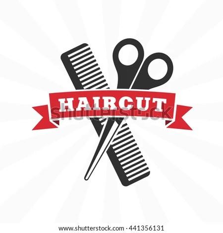 vector retro barber shop label logo badges and design element hair salon design icon in flat