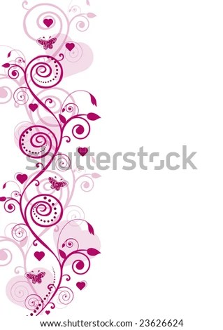 stock photo : Romantic composition with hearts, flowers and lines