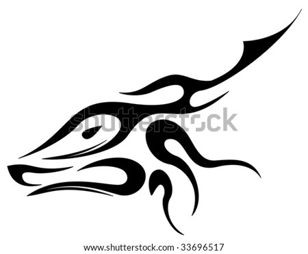 Silhouette of deer in tribal tattoo elements