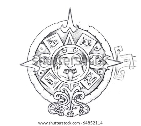 stock photo : Tattoo art, sketch of a aztec sun