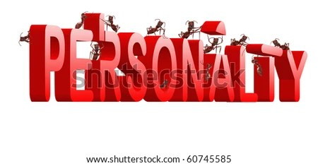 stock photo : personality building strong and powerful person psychology red text