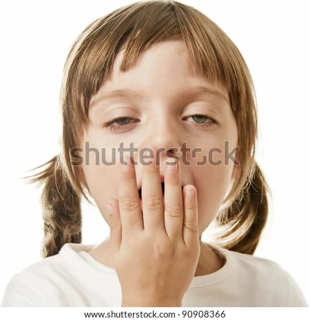 yawning little girl - stock photo