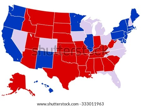 United States Electoral Map - Vector Illustration of United States map with projected electoral states. Each of the states are grouped into separate, stroked shapes which can be easily edited.