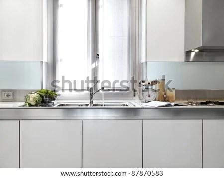 detail of steel sink under the window