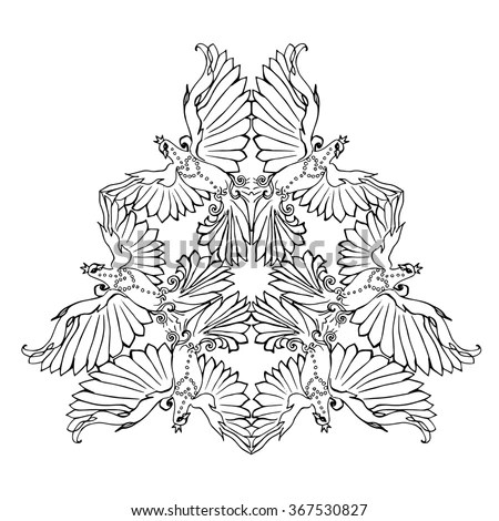 triangle ornament of flying dove birds pigeon coloring page in