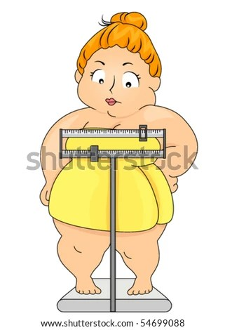 stock vector : Plump Woman on Weighing Scale - Vector
