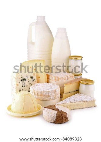 stock photo : isolated dairy products on white background