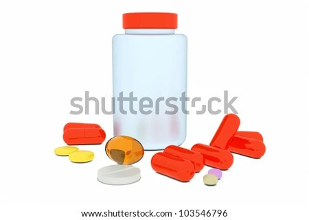 stock photo : And a bottle of pills on a white background