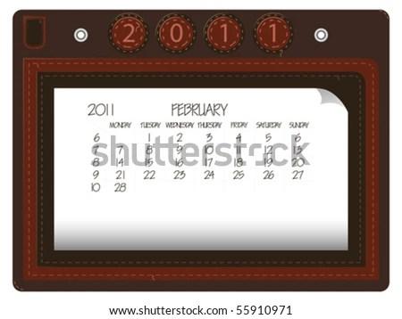 stock vector : february 2011 leather calendar against white background,