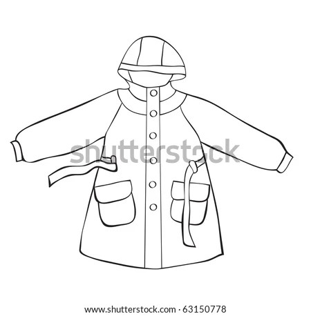 stock vector : Rain coat with hood isolated on white. outline drawing