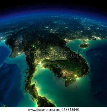 Highly detailed Earth, illuminated by moonlight. The glow of cities sheds light on the exaggerated terrain and translucent water. Asia, Indochina peninsula. Elements of this image furnished by NASA - stock photo