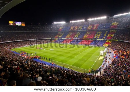 BARCELONA - JANUARY 25: Panoramic view of Camp Nou stadium before the Spanish Cup match between FC Barcelona and Real Madrid, 2 - 2, on January 25, 2012, in Barcelona, Spain. - stock photo