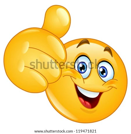 Emoticon showing thumb up - stock vector