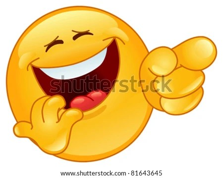 Laughing and pointing emoticon - stock vector