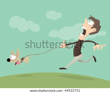 stock vector : Man walking a dog.