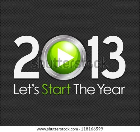 stock vector : New Year 2013 start button