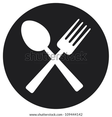 crossed fork and spoon (food icon, food symbol) - stock vector