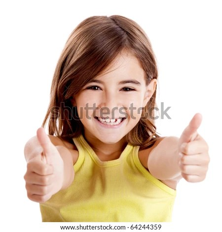 Portrait of a beautiful and confident girl showing thumbs up isolated one white - stock photo