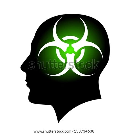 Raster version. Human face with Biohazard sign. Illustration on white background for creative design - stock photo