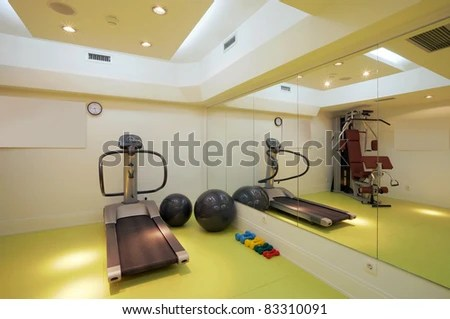 stock photo : Interior of an empty fitness club with equipment.