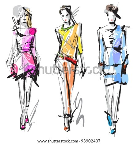 stock vector : Fashion models. Sketch.