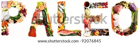 stock photo : Word Paleo shaped out of Various Healthy Fresh Meats, Fish, Vegetables, Fruit, Tea, and Some Chocolate