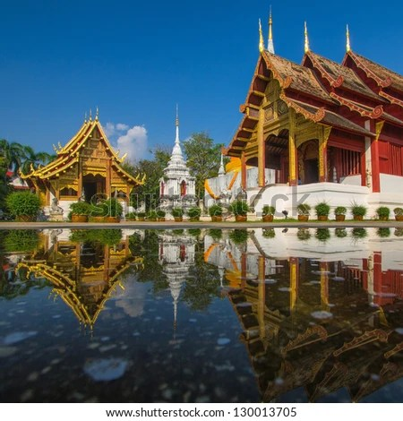 Wat Phra Sing, Chiang Mai, Thailand - stock photo