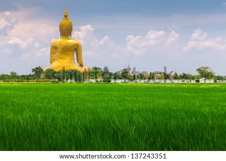 A biggest Buddha in Thailand, Ang Thong province - stock photo