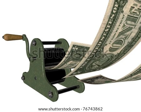 In God (or money) we trust - making money on the hand printing press - stock photo