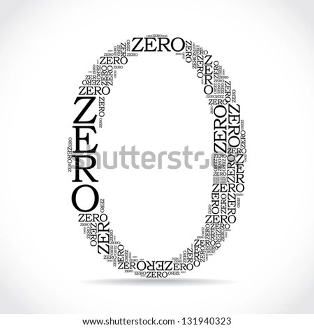 zero sign created from text - illustration - stock vector